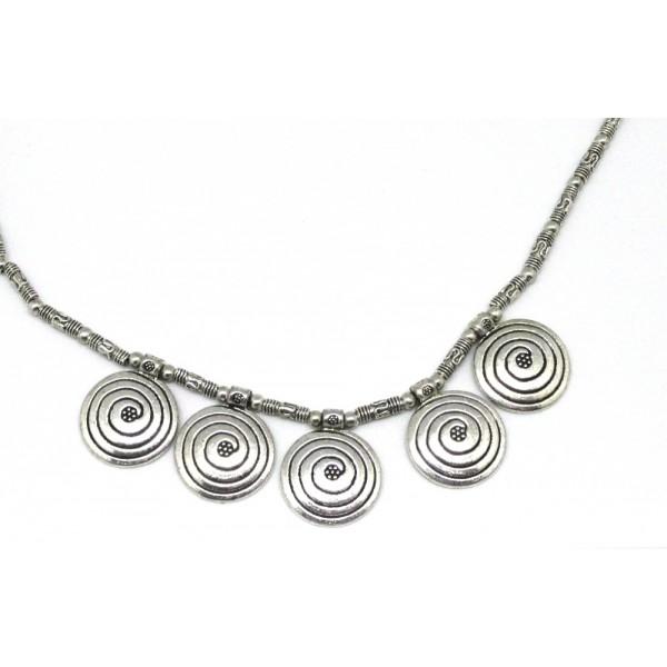 Gargantilla metalica plateada abalorio espiral pl vieja